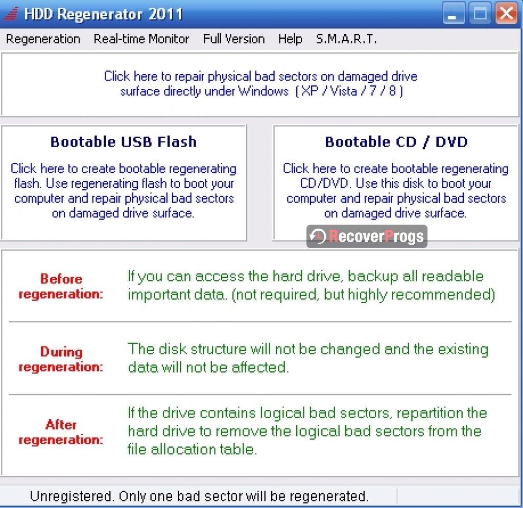Инструкция hdd regenerator
